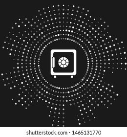 White Safe icon isolated on grey background. The door safe a bank vault with a combination lock. Reliable Data Protection. Abstract circle random dots. Vector Illustration