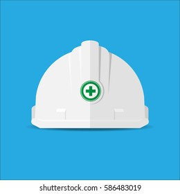 White Safety helmet icon.