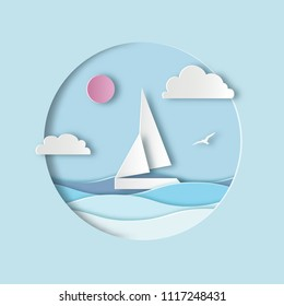 White sailboat with clouds, sun and waves. Sea landscape. Paper cut art digital craft style. Vector illustration