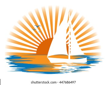 White sailboat and its reflection in the water, and seagulls in the sea, against the sun's rays at sunset. Landscape logo.