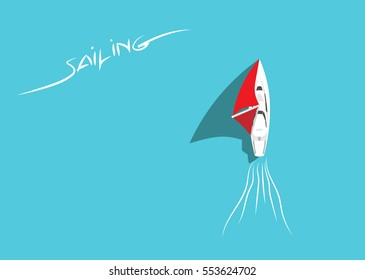 White Sailing Yacht in Azure Sea Top View. Sailing Ship with Red Sails Floating in Ocean. Aerial View. Summer Holiday Background. Copy Space. Flat Design Style. Eps10 Vector Illustration.