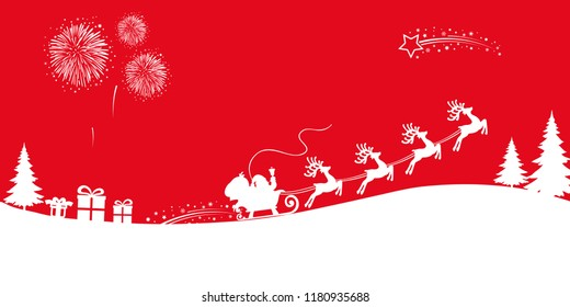White Santa Claus flyin on Christmas sleigh – stock vector