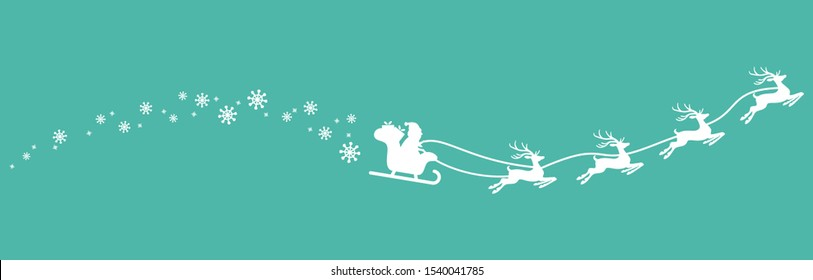 white Santa Claus with sled, reindeers and some snow flakes isolated on colored background