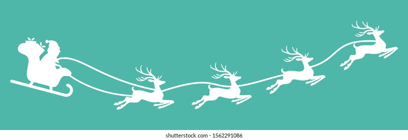 white Santa Claus with sled and reindeers isolated on colored background