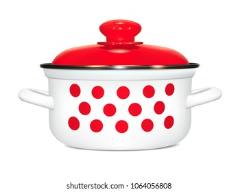 White saucepan with a pattern of red peas. cooking. Pan with a red lid, a metal rim and a soft shadow. Photorealistic image on white background. Isolated, vector illustration.