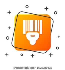White Scanner scanning bar code icon isolated on white background. Barcode label sticker. Identification for delivery with bars. Orange square button. Vector Illustration