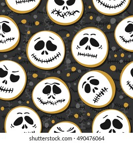 white scary faces Halloween seasonal pattern on dark background