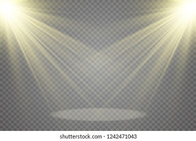 White scene on with spotlights. Measure of action.Special lens flash, light effect. The flash flashes rays and searchlight. illust.White glowing light. Beautiful star Light from the rays.Sunlight.