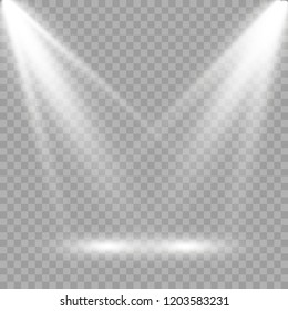 White scene on with spotlights. Vector illustration.Measure of action.