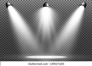 White scene on with spotlights. Vector illustration.