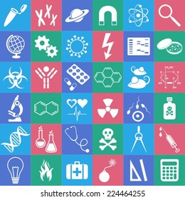 White science vector icons collection in colorful squares