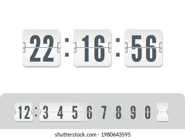 White scoreboard number font. Flip countdown number with reflections isolated on white background. Vintage flip clock time counter vector template. Vector illustration template.