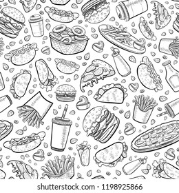 White seamless background with hand line illustration. Vector fast food pattern: burgers, french fries, hot dog, pizza, tacos, coffee, cold drink, ketchup.