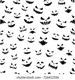 White seamless halloween background with black pumpkin faces pattern. Vector illustration.