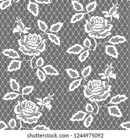 White seamless lace pattern with rose. White floral lace pattern