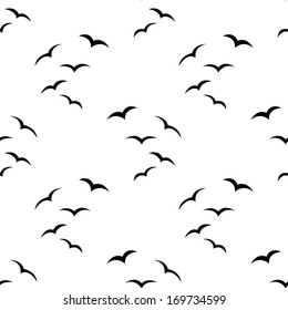 white seamless pattern with black birds