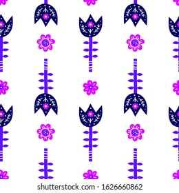 White seamless pattern with doodle violet flowers in Scandinavian folk art style.