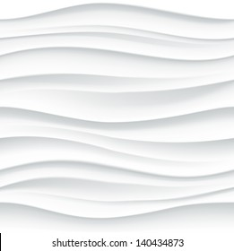 White seamless texture. Wavy background. Interior wall decoration. 3D Vector interior wall panel pattern. Vector white background of abstract waves.