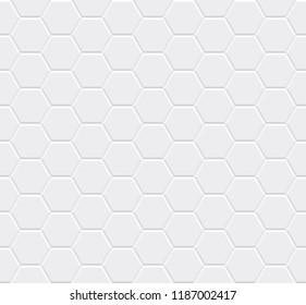 White seamless tiles texture. Hexagonal modern pattern. Vector illustration