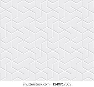 White seamless tiles texture. Modern volumetric pattern. Vector illustration