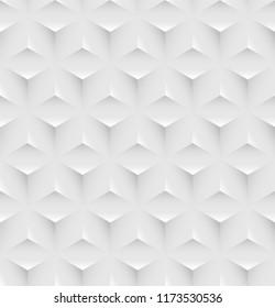 White seamless volumetric geometric pattern