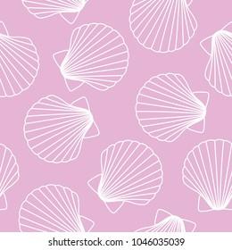 white seashells on pink background sea ocean shell pattern seamless vector.