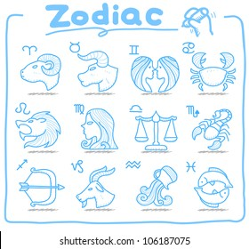 White Series | Hand drawn Zodiac icon set