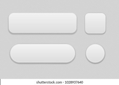 White set of buttons on gray background. Oval, round and square web 3d icons. Vector illustration