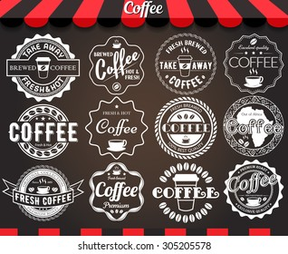 """White set of round vintage retro coffee labels and badges on blackboard.See more in set """"Labels"""" of my portfolio"""