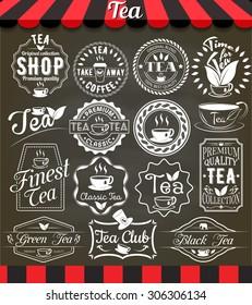 """White set of vintage retro tea elements styled design, frames, vintage labels and badges on blackboard.See more in set """"Labels"""" of my portfolio"""