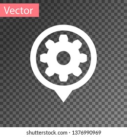 White Setting icon isolated on transparent background. Tools, service, cog, gear, cogwheel sign. Vector Illustration