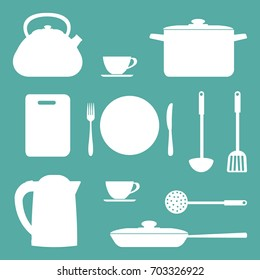 White shapes of kitchen utensils and tools on a blue background. There is a saucepan, a kettle, a frying pan, a plate, a fork, a knife and other objects in the picture. Vector illustration