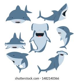 White shark and Hammerhead shark vector set
