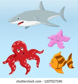 White shark, octopus, sea star and fish. Vector illustration