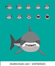 White Shark Swimming Motion Sequence Cartoon Vector Illustration