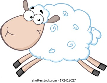White Sheep Cartoon Mascot Character Jumping. Vector Illustration Isolated on white