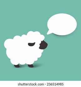 White sheep cartoon vector illustration. Isolated. Use for card, poster, banner, web design and print on t-shirt. Easy to edit. Vector illustration.