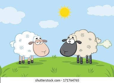 White Sheep And Farting Black Head Sheep On A Meadow. Vector Illustration