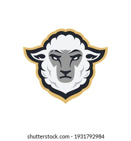 white sheep head sport mascot design character for gaming team or college club, modern cartoon style Illustration design of goat head isolated on white background.