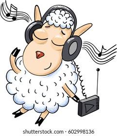 white sheep listening to music on headphones
