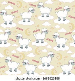 White sheep on a cloud with a month and stars pattern children's illustration