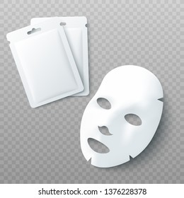 White sheet facial cosmetic mask and blank packages for face treatment product 3d realistic vector mockup illustration isolated on transparent background.