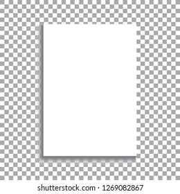 White sheet of paper format A4 with shadows on transparent background. Realistic empty paper note with shadows. Vector