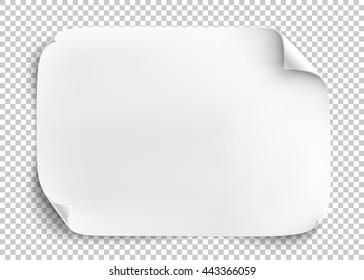 White sheet of paper on transparent background. Vector illustration.