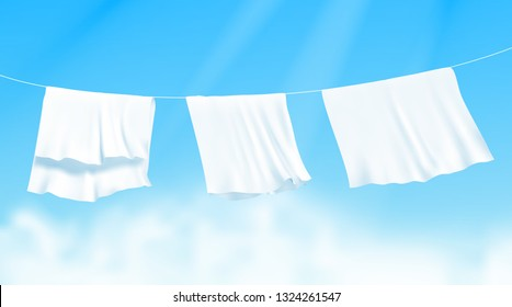 White sheets dried on a rope on the wind. Realistic vector illustration with blue sky and sunshine on background.