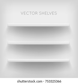 White shelves on white background. Realistic, voluminous racks with a shadow. Vector illustrations of empty store stand in the supermarket, front view