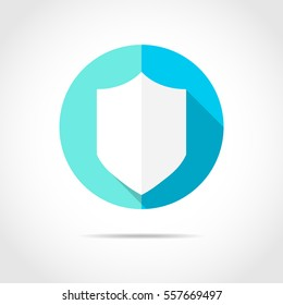 White shield in flat design with long shadow. Simple shield icon on a blue circle. Vector illustration.