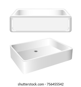 White shine kitchen sink, isolated on white background. Blend and gradient vector illustration.