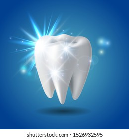 White shining tooth, concept whitening of human tooth. Teeth protection, tooth care dental medical vector icon. 3d vector illustration.