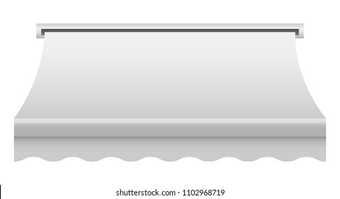 White shop awning mockup. Realistic illustration of white shop awning vector mockup for web design isolated on white background